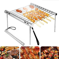 Folding Portable Stainless Steel BBQ Grill BBQ Grill Mini Pocket BBQ Grill Barbecue Accessories For Home Park Use|BBQ Grills|Home & Garden -
