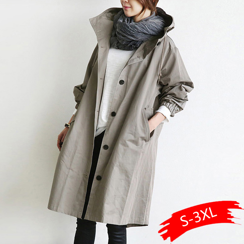 2020 New Solid Color Casual Windbreaker Korean Hooded Collar Loose Autumn Winter Women   Trench   Plus Size Simple Women Coats