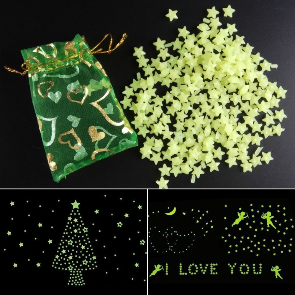 200pcs/set DIY 3D Luminous Shine Stars Wall Stickers Fluorescent Plastic Glow In The Dark Bedroom Home Decoration Kids Toys Gift 1