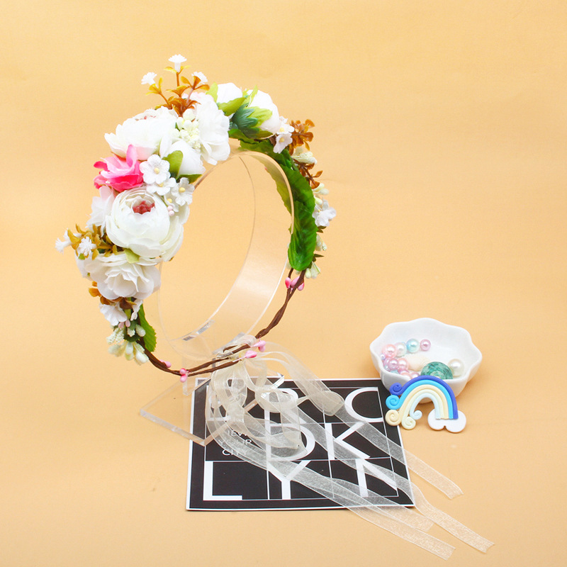 Handmade Flower Kawaii Hat Children's Holiday Head Flower Bridal Wreath Mock-up Flower Headband Kids Toys Anniversaire Enfant