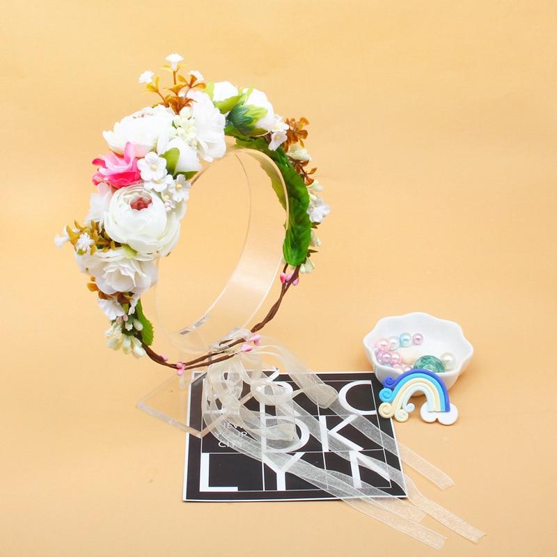 Handmade Flower Kawaii Hat Children's Holiday Head Flower Bridal Wreath Mock-up Flower Headband Kids Toys Anniversaire Enfant
