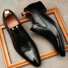QYFCIOUFU Men Shoes Cowhide Genuine Leather Toe Shoes Work Luxury Men Dress Shoes Black Formal Leather Shoes Slip-on Oxfords new arrival black alligator genuine leather handmade metal tip spikes pointed toe slip on formal dress shoes sexy fashion mans