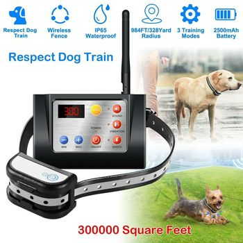 Dog Fence Wireless & Training Collar Outdoor 2-in-1, Electric Wireless Fence w/Remote, Adjustable Range, Waterproof, Reflective