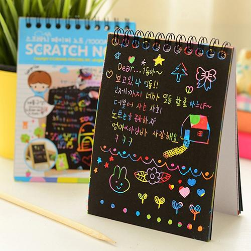 Notebook 10*14cm Large Magic Color Rainbow Scratch Paper Note Book Black DIY Drawing Toys Scraping Painting Kid Doodle Office