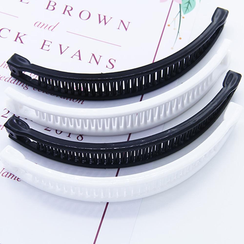 Hair Clip Hairpin Shape Banana Shape Korea Comb Clip Black White Plain Hair Comb Ponytail Holder Liu Hai Comb Accessory
