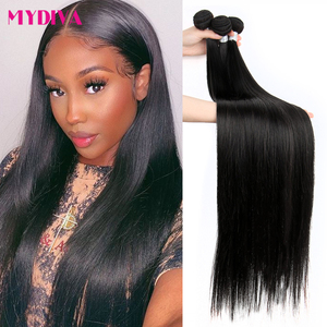 Mydiva 8-34 36 38 40 Inch Brazilian Hair Weave Bundles Straight 100% Human Hair 3/4 Bundles Natural Color Remy Hair Extensions(China)