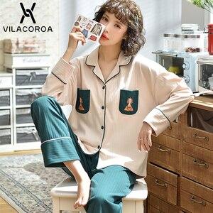 Image 5 - Dorywczo owocowy kieszonkowy kardigan na guziki kobiety Pijama Lapel z długim rękawem spodnie wygodna piżama dla kobiet dorywczo śliczna odzież domowa
