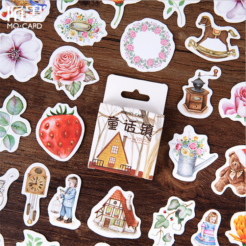 46pcs/pack Fairytale Town DIY Decorative Sealing Stickers Paper Memo Pad Stationery Gift Material