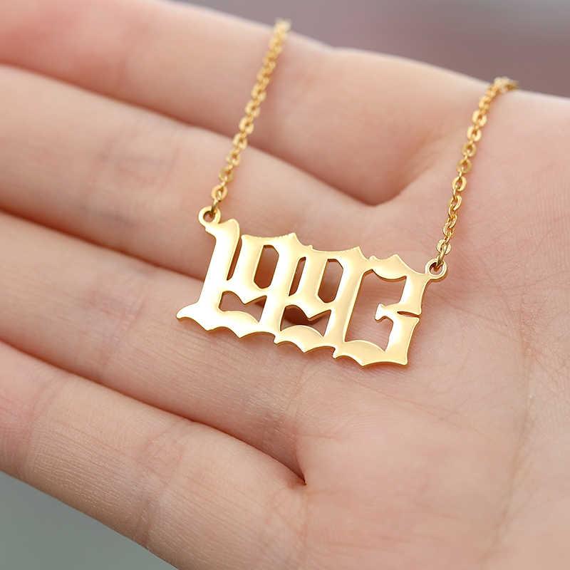 Doğum yılı kolye kadınlar için paslanmaz çelik altın renk yıl sayı altın kolye kolye 2019 moda Bff takı hediye
