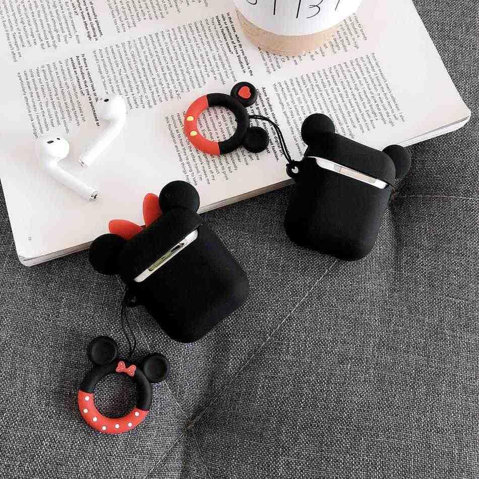 Cho Rung Dễ Thương 3D Hoạt Hình Tai Nghe Chụp Tai Dành Cho Tai Nghe Airpods 1 2 TWS Tai Nghe Bluetooth Chụp Tai Mềm Mại Bảo Vệ Da Với Ngón Tay dây Đeo Vòng