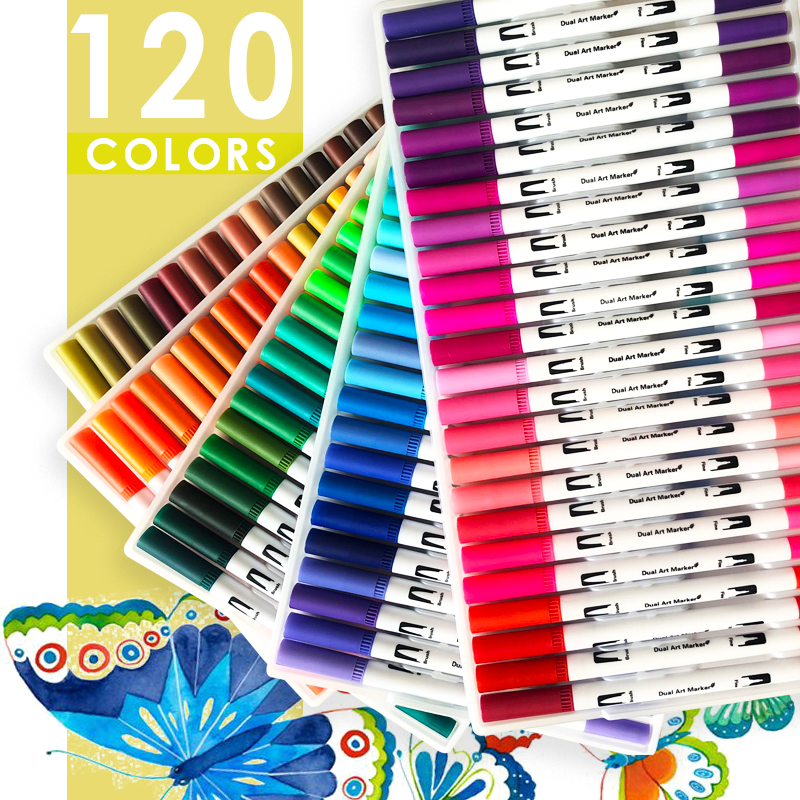 120 Colors Art Markers Dual Tips Coloring Brush Pen Fineliner Color Water Marker  School Art Supplies For  Drawing Coloring Book