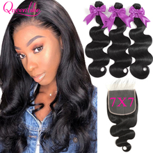 Brazilian Body Wave With 7*7 Closure Queenlike 7x7 Closure And Bundles Remy Hair Weft 3 Human Hair Bundles With Closure