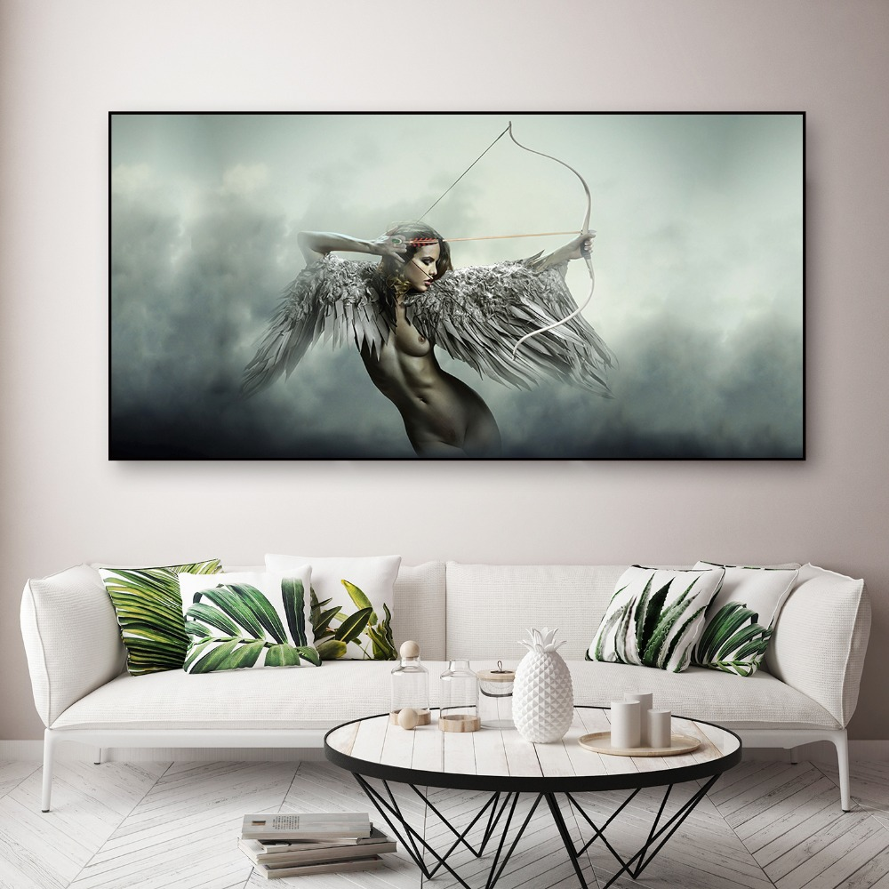 Angel Wings Body Sensual Wall Art Canvas Hd Print Picture Painting Home Decor Fantasy Wing Sexy Girl Nude Posters Modern Modular Painting Calligraphy Aliexpress