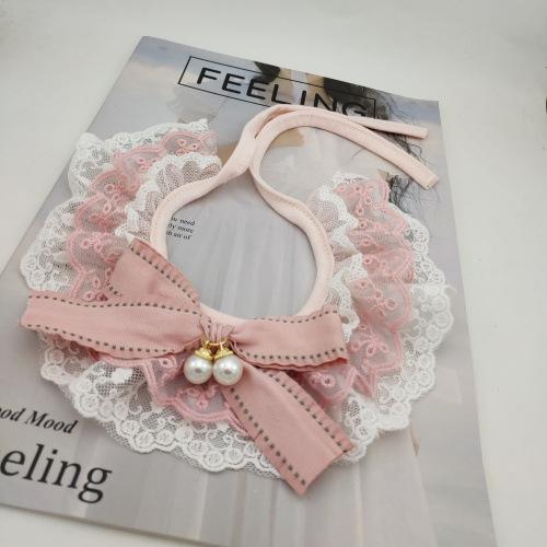 Korean Cotton Bowknot Lace Pet Cat Collar Lace Scarf Pet Accessories