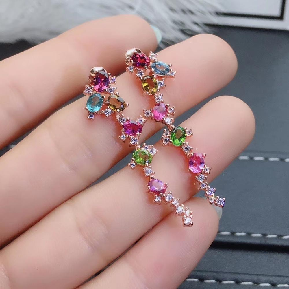 Mode longue géométrie naturel multicolore tourmaline goutte boucles d'oreilles pierres précieuses naturelles boucles d'oreilles 925 argent femme fête bijoux - 3