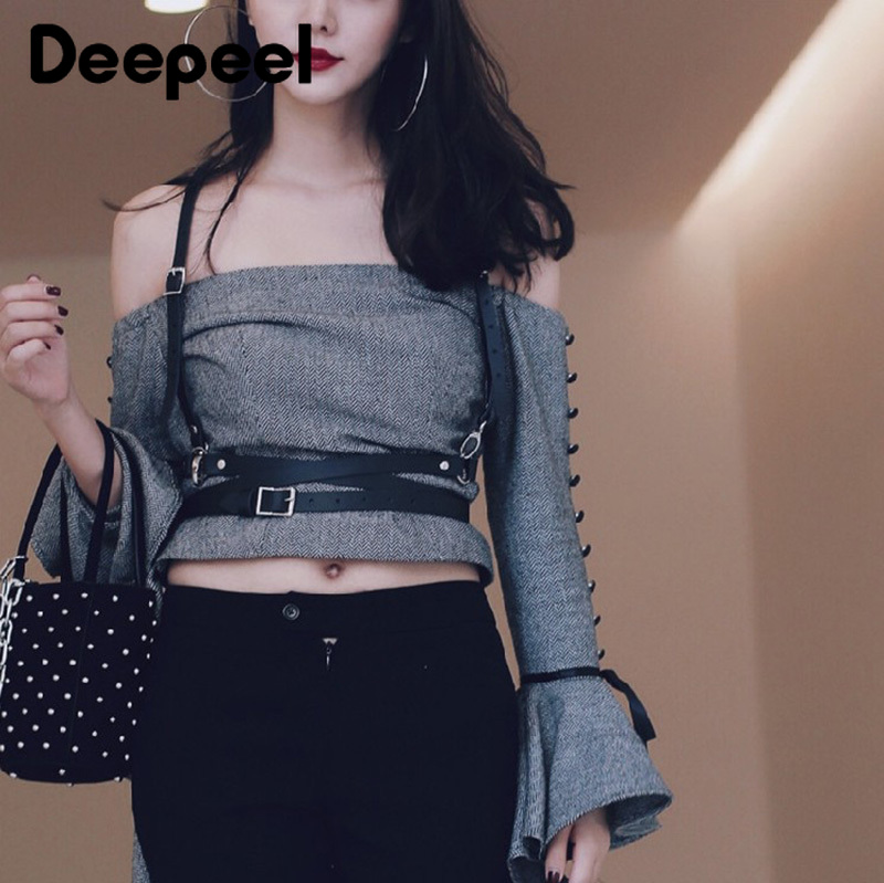 Deepeel 1pc Fashion Imitation Leather Suspenders Harajuku Style Female Cummerbunds Pin Buckles Belt Snap Buckle Strap Decoration