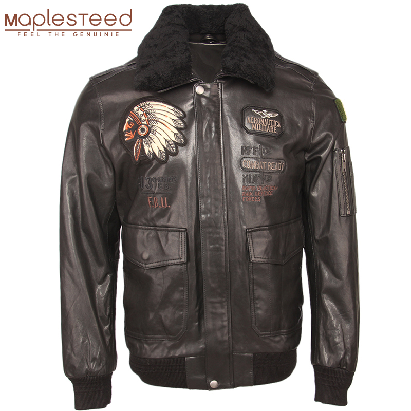 Embroidery Men Genuine Leather Jacket 100% Tanned Sheepskin Fur Collar Flight Bomber Jacket Military Pilot Skin Coat Autumn M438