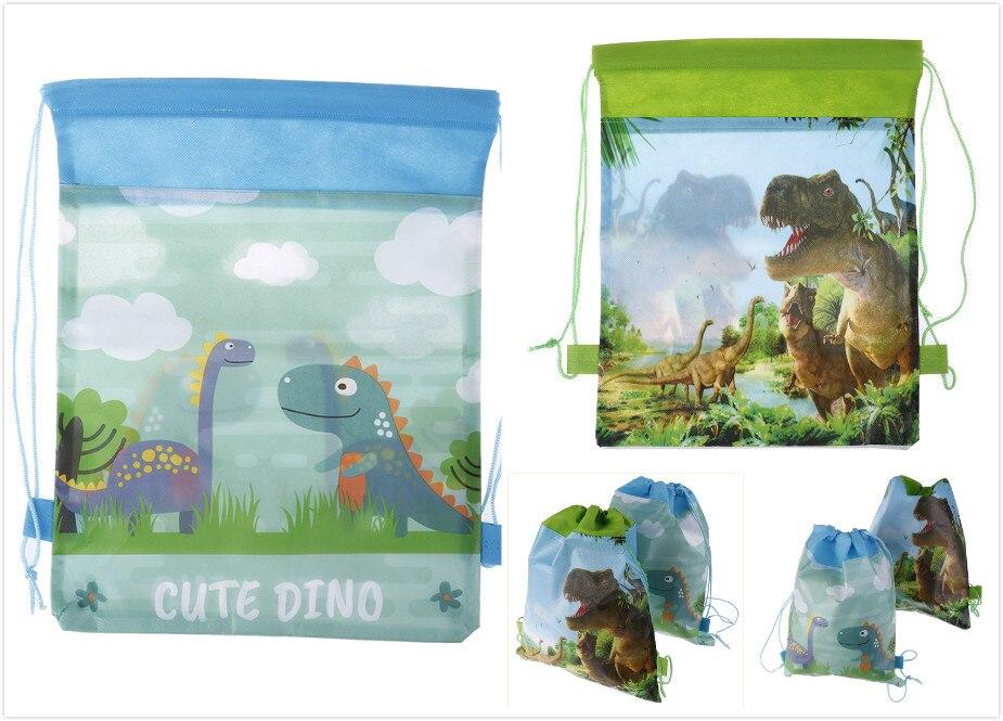 12PCS Cartoon Non-woven Fabric Baby Shower Drawstring Gifts Bags Cute Dinosaur Theme Bag Birthday Party Mochila Boys Favors