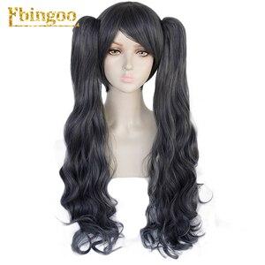 Image 2 - Ebingoo noir Butler kuroshisuji Ciel fantôme ruche perruque longue Double queue de cheval gris synthétique Coplay perruque pour les femmes