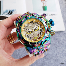 цена на Large Dial Men's Quartz Watch Day-Date Week Display Watches Unique With Colorful Stainless Steel Strap Relógio de homem