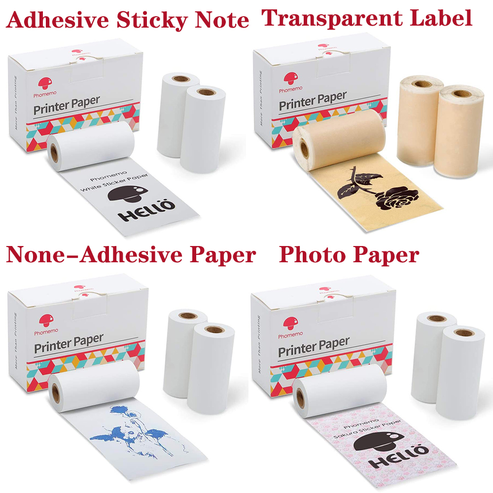 Phomemo Self-Adhesive Thermal Paper Printable Sticker Label Papers for M02/M02S/M02Pro Printer for iphone Papier Photo Paper