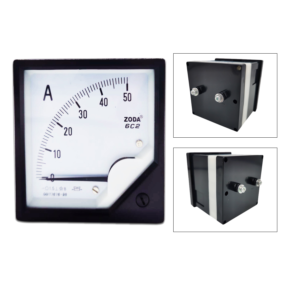 1PC 6C2 5A 10A 30A 50A 100A 300A/75mV DC Current Analog Ammeter Gauge Pointer Panel Meter 80*80mm DC amp meter Use with Shunt