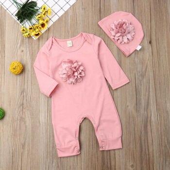 2PCS/Set Newborn Baby Girls Flower Romper Bodysuit Jumpsuit + Hat Outfits Clothes Set