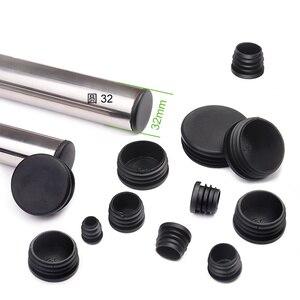 10Pcs/lot New Plastic Furniture Leg Plug Black Round Steel Pipe Tube Blanking End Caps Insert Plugs14-76mm decorative dust cover(China)