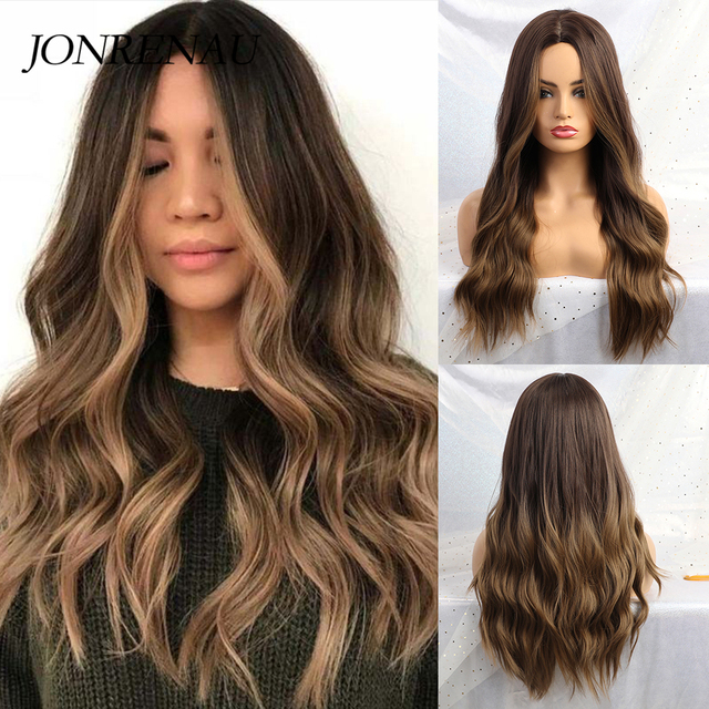 JONRENAU 24 Inches  Long Synthetic Natural Wave Brown Ombre Hair Wigs Heat Resistant Hair Wigs for Black Women 1