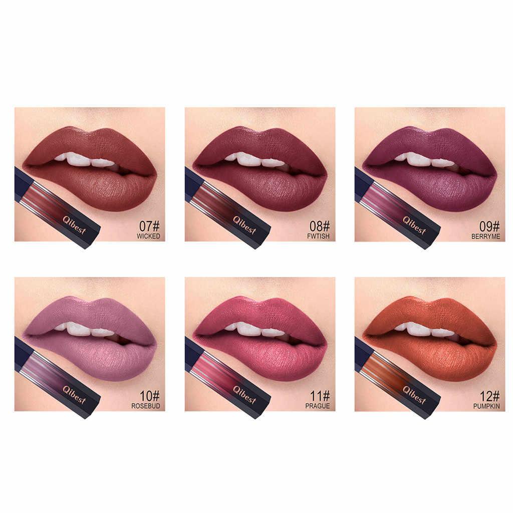 Qibest à prova dwaterproof água nude matte veludo gloss batom batom bálsamo labial vermelho sexy matiz 12 cores feminino moda maquiagem presente # h