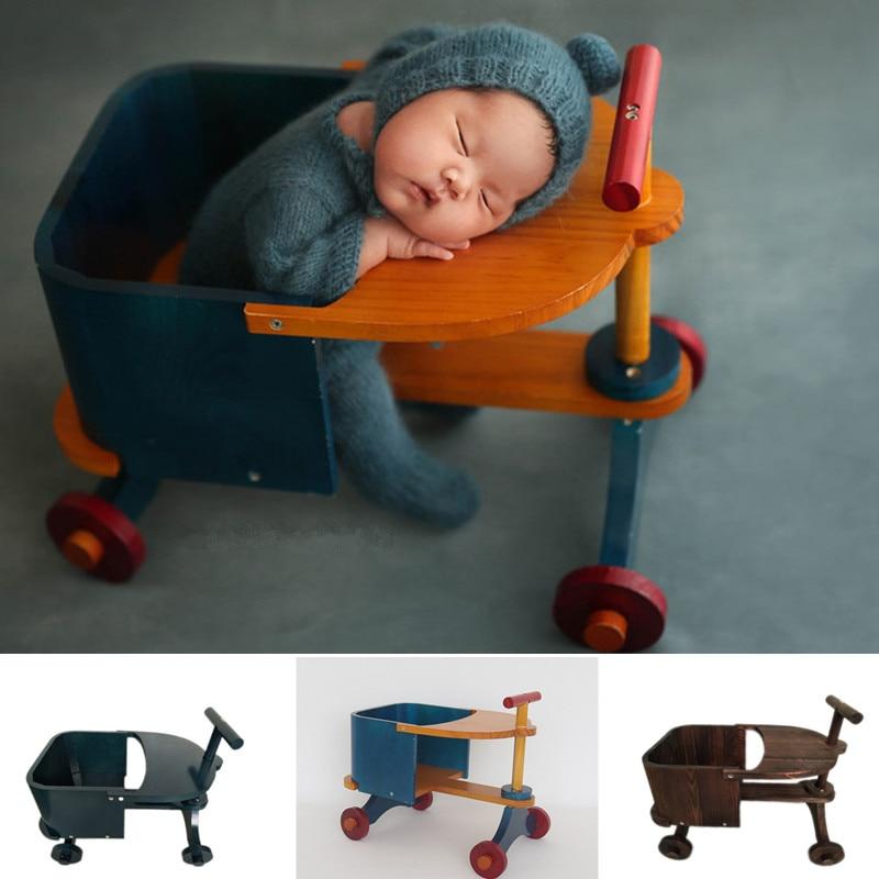 Baby Props For Photograph Newborn Detachable Wooden Tricycle Studio Baby Shooting Accessories Bed Bebe Fotografia Recien Nacida