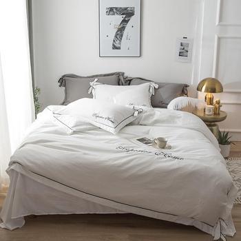 100% cotton white cream gray color bedding set queen king size bed sheet fitted sheet set duvet cover parure de lit ropa de cama