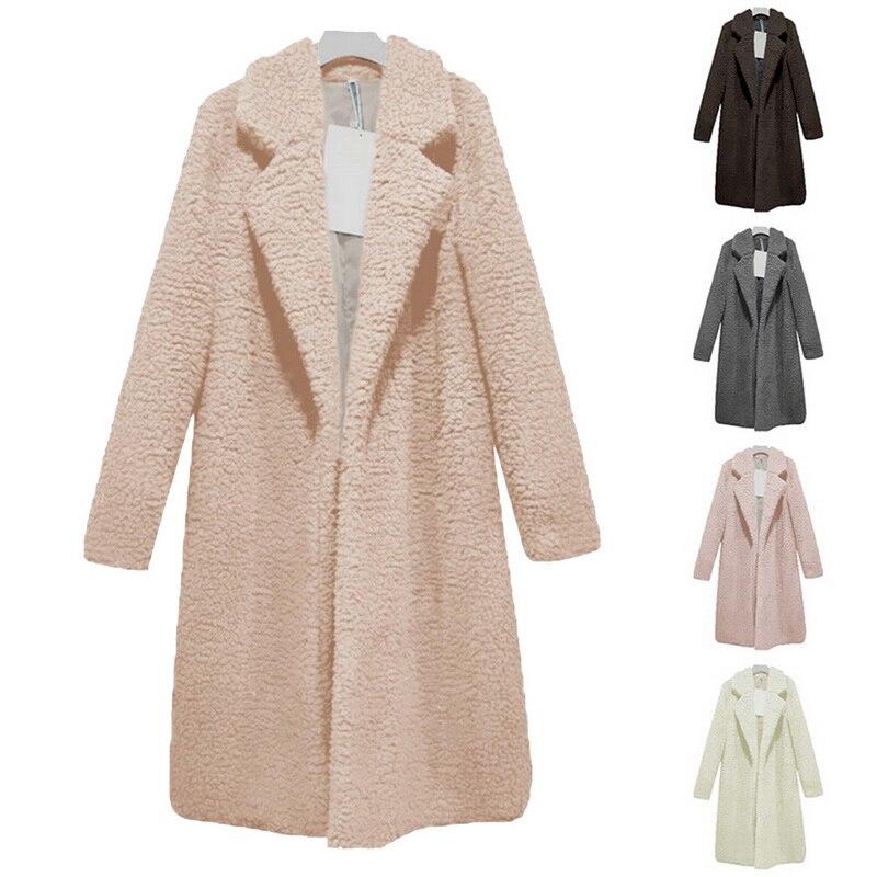 Новинка 2020, женское длинное пальто из лохматого меха, осенне-зимнее плюшевое пальто, верхняя одежда, Базовая куртка размера плюс, кардиган с отложным воротником, Femme