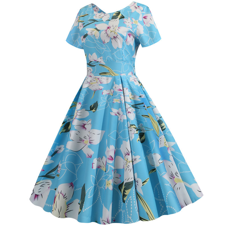 Summer Floral Print Elegant A-line Party Dress Women Slim White Short Sleeve Swing Pin up Vintage Dresses Plus Size Robe Femme 241