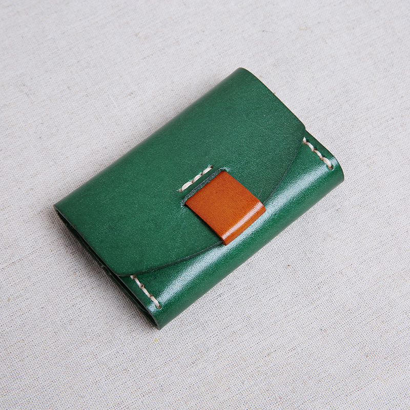 Hand Stitch Tanned Leather Credit Card Holder Men & Women Retro Id Card Wallet Carte Porte Minimalist Wallet For Credit Cards