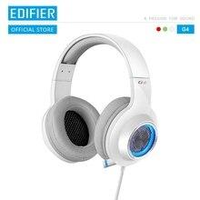 EDIFIER G4ชุดหูฟังBuilt In 7.1 Virtual Surroundการ์ดเสียงและไมโครโฟนแบบพับเก็บได้LEDและตาข่ายโลหะการออกแบบหูฟัง