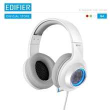 EDIFIER G4 oyun kulaklığı dahili 7.1 sanal Surround ses kartı ve geri çekilebilir mikrofon LED ve Metal örgü tasarım kulaklık