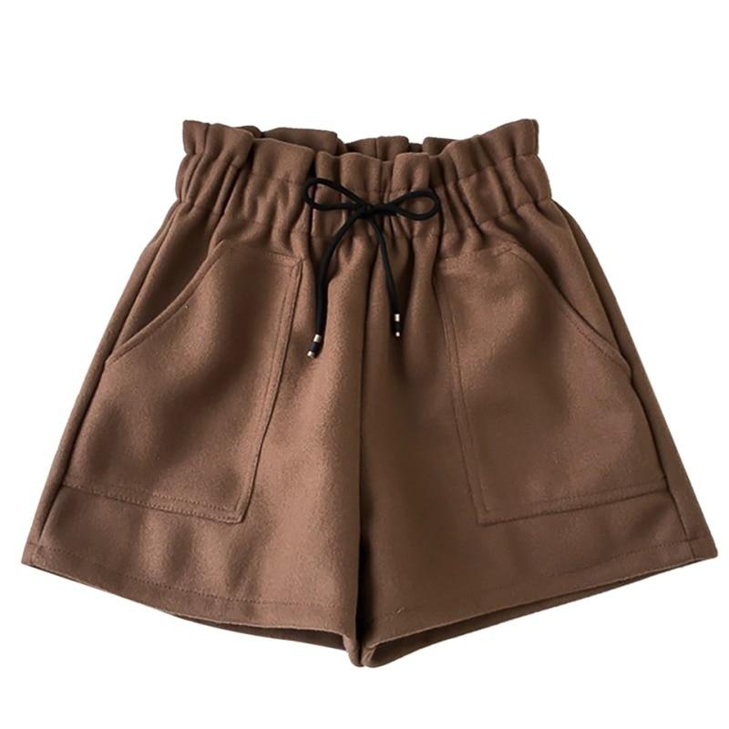 Women Casual Short Solid Color Wide Leg Double High Waist Autumn Winter Boots Women's Shorts Spodenki Damskie!