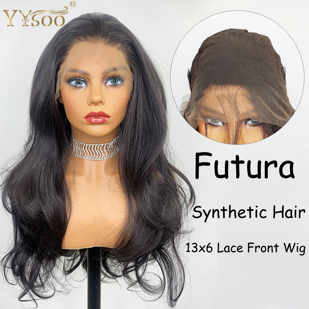YYsoo Long 13x6 Lace Front Synthetic Wig Futura Japan Heat Resistant Hair Fiber Black Synthetic Lace Wig For Black Women