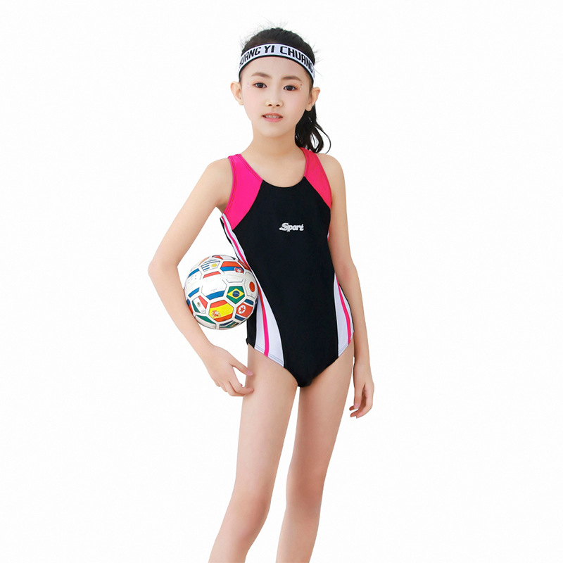 2019 New Style Profession One-piece Triangular Panels Bar Athletic Training Middle And Large CHILDREN'S Swimwear Women's Manufac