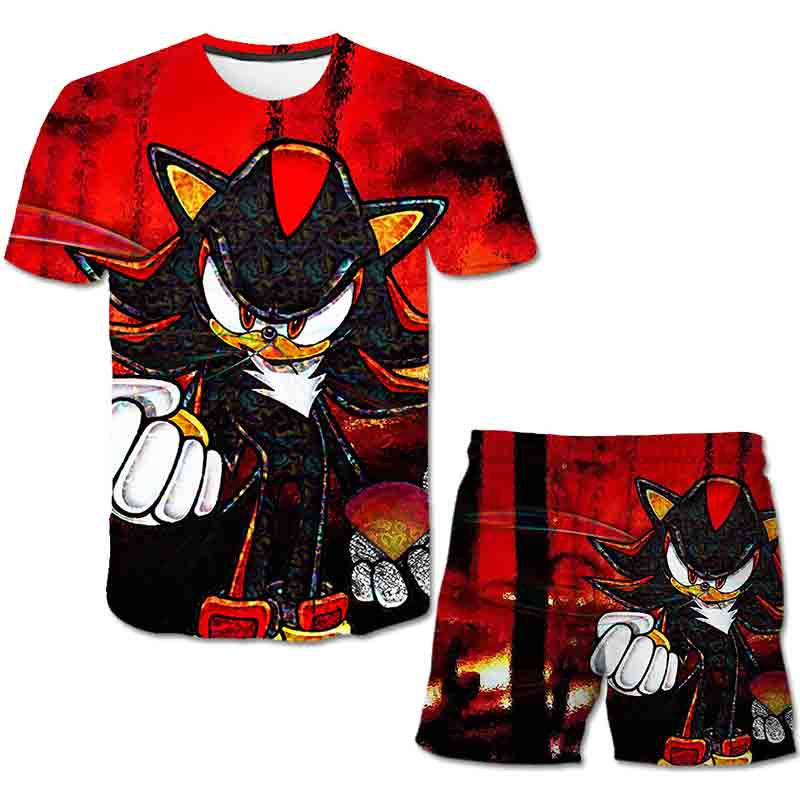 Summer Sonic the Hedgehog T-Shirt 3D Baby Boy Clothing Set Cute Cartoon Children Boys Clothes tops Shorts Suit for Kids Outfit 5