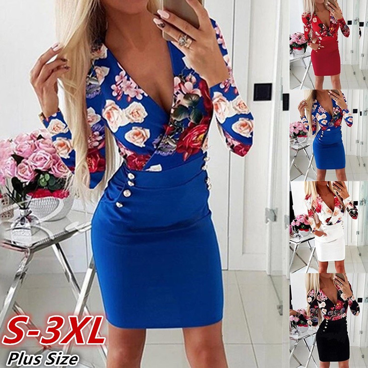 BacklakeGirls Hot Sale Sexy V Neck Flower Elegant Women Cocktail Dress With Pockets Long Sleeve Women Dress Robe De Cocktail