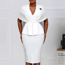 Women Slim Dresses Elegant Bodycon Classy Ladies Office Work Wear V Neck Large Size Fashion New Peplum Navy Blue White 3XL XXL