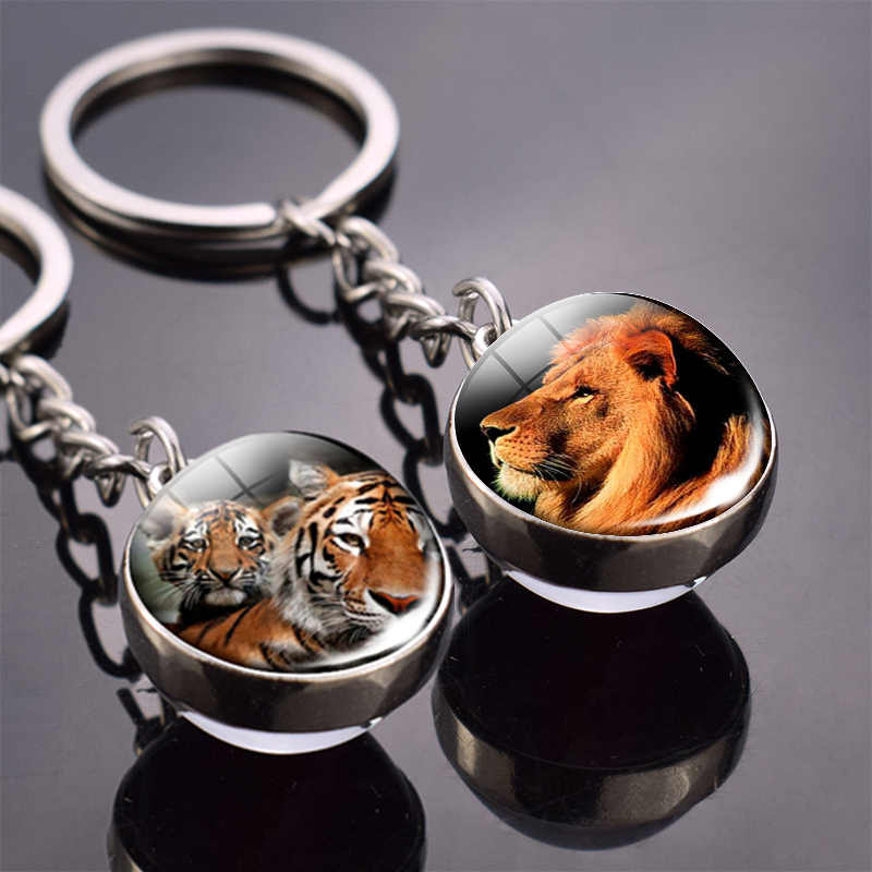 สัตว์ Key Tiger Wolf Fox Lion DOUBLE SIDE Glass Ball Keychain Black Cat และ Moon จี้ม้า Keyring