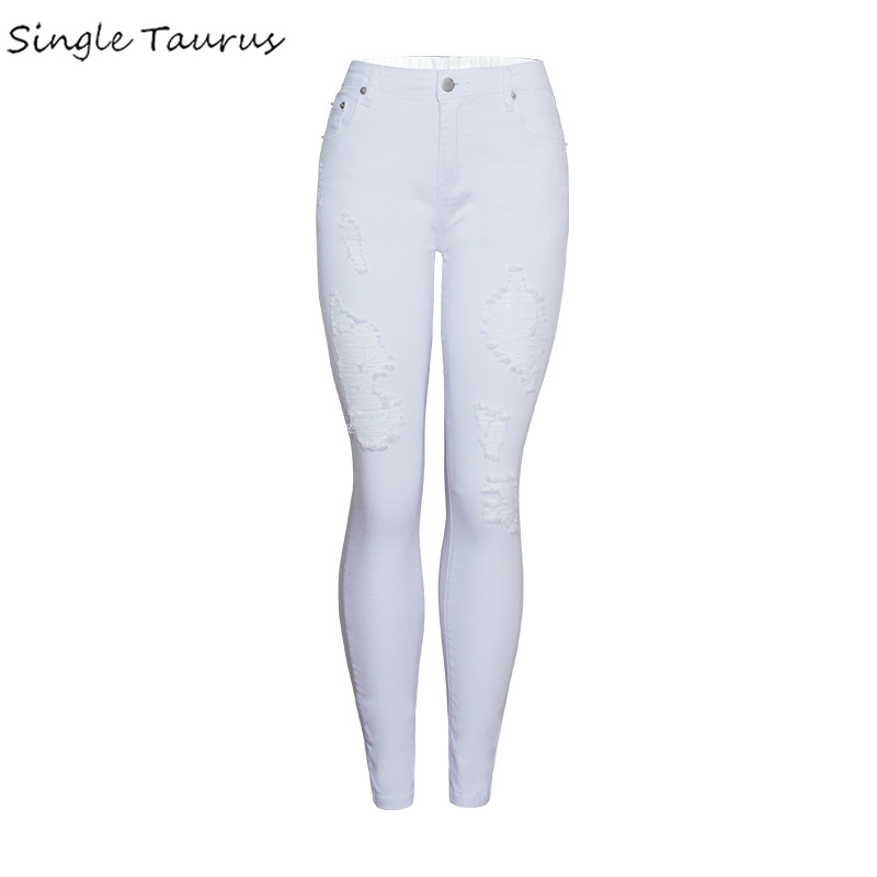 2020 Spring Casual White Skinny Jeans Women High Waist Push Up Distressed Pencil Pants Office Lady Ripped Denim Pantalon Femme