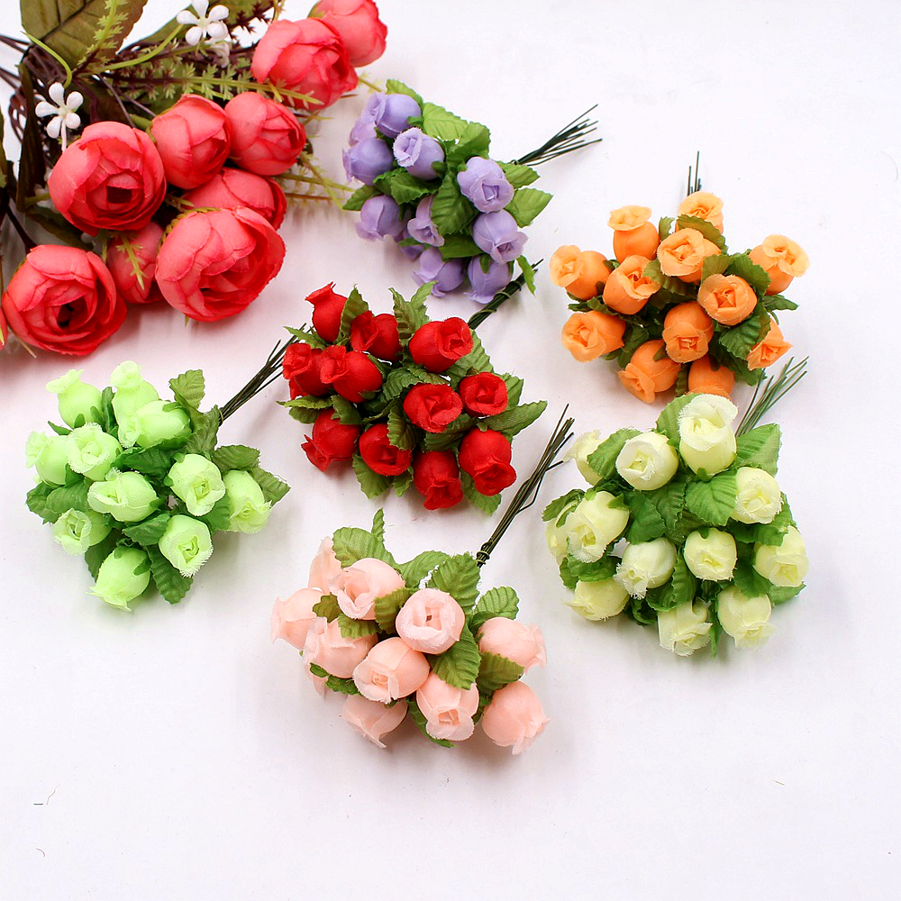 12heads/Bundle Artificial Flowers Silk Rose Mini Bouquet for Christmas Home Wedding New Year DIY Gift Box Decoration Fake Plants