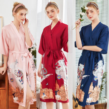 2019 Spring soft Long Bridesmaid Red Bride Gown Robe Sleepwear Women Pyjama Femme Fashion S