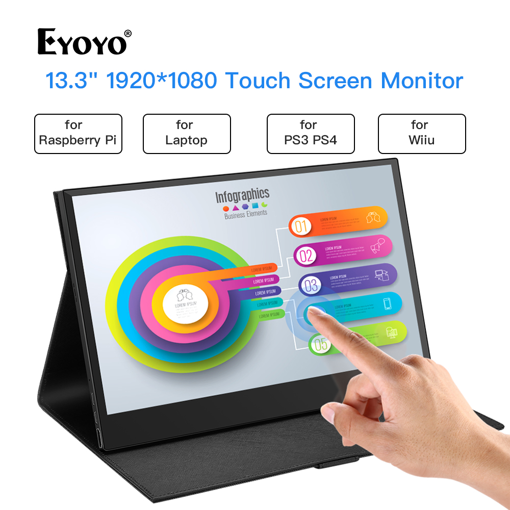 Eyoyo 13.3 Portable Gaming Monitor 1920X1080 LCD Screen Second Moniteur With Touch USB Type C HDMI for laptop phone xbox PS4 PC image