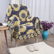 51 X 71 Inches Multi-Function Throw Blanket Double Sided Cotton Woven Couch Sunflower for Sofa Chair