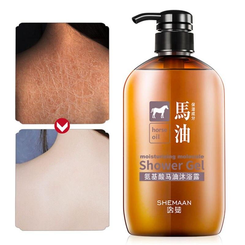 600ml Amino Acid Horse Oil Shower Gel Moisturizing Deep Cleaning Wash Shower Gel Fragrant Whitening Bath Lotion Body Skin Care
